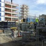 Londono Moxy Royal Docks viešbučio statyba